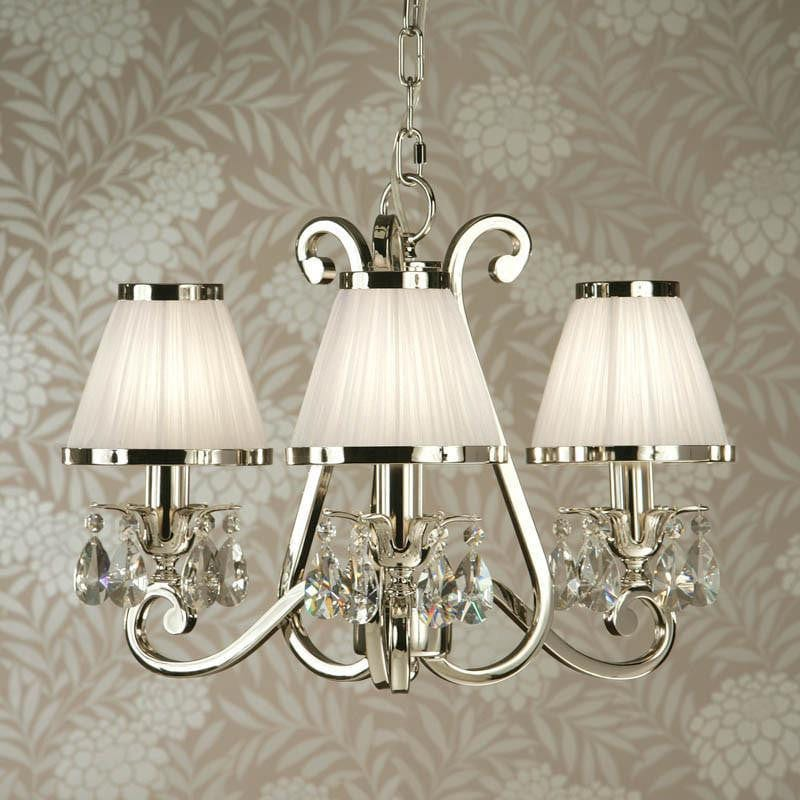 Traditional Ceiling Pendant Lights - Oksana Polished Nickel Finish 3 Light Chandelier With White Shades 63514