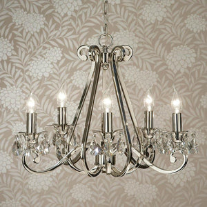 Traditional Ceiling Pendant Lights - Oksana Polished Nickel Finish 5 Light Chandelier UL1P5N