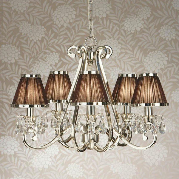 Traditional Ceiling Pendant Lights - Oksana Polished Nickel Finish 5 Light Chandelier With Chocolate Shades 63511