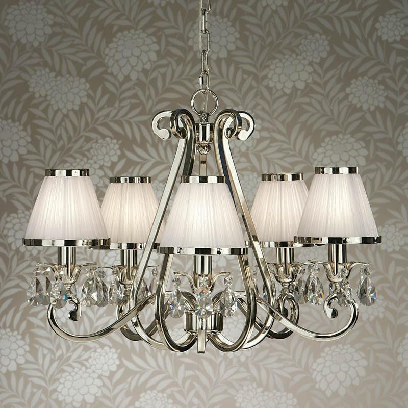 Traditional Ceiling Pendant Lights - Oksana Polished Nickel Finish 5 Light Chandelier With White Shades 63515