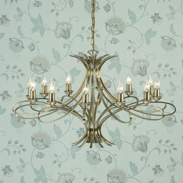 Traditional Ceiling Pendant Lights - Penn 12 Light Brushed Brass Finish Chandelier CA7P12BB