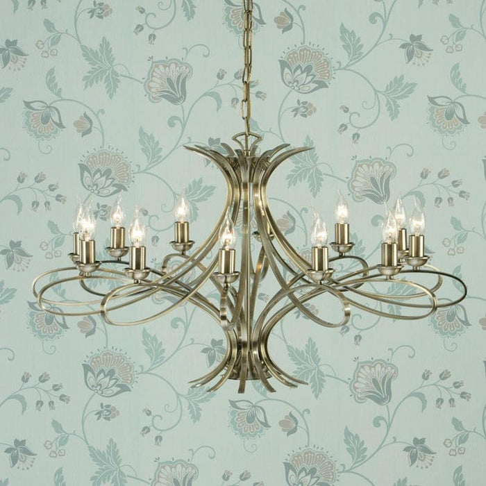 Penn 12 Light Brushed Brass Finish Chandelier CA7P12BB