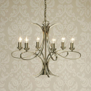 Traditional Ceiling Pendant Lights - Penn 6 Light Brushed Brass Finish Chandelier CA7P6BB