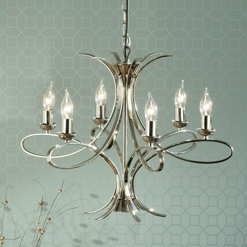 Traditional Ceiling Pendant Lights - Penn 6 Light Polished Nickel Finish Chandelier CA7P6N