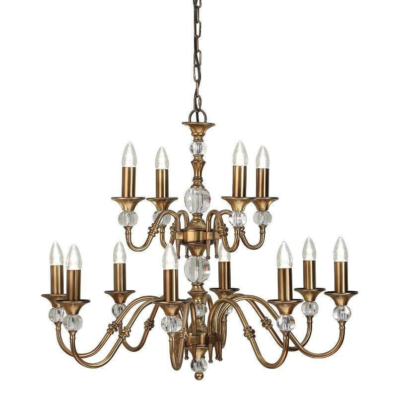 Traditional Ceiling Pendant Lights - Polina 12 Light Antique Brass Finish Chandelier LX124P12B