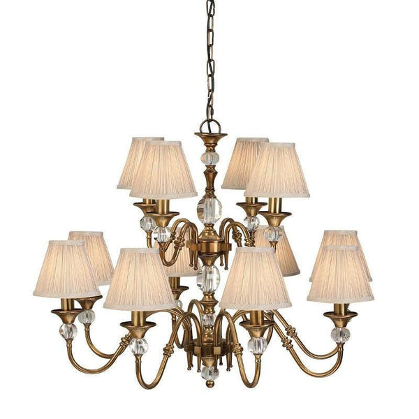Traditional Ceiling Pendant Lights - Polina 12 Light Antique Brass Finish Chandelier With Beige Shades 63585