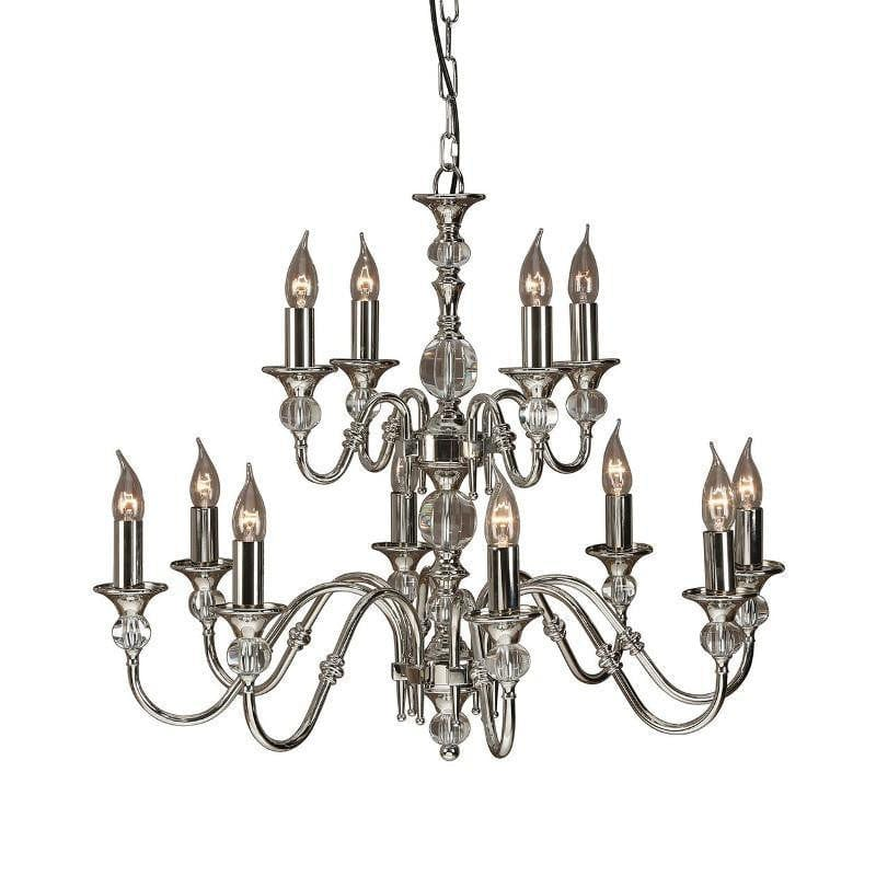 Traditional Ceiling Pendant Lights - Polina 12 Light Polished Nickel Finish Chandelier LX124P12N