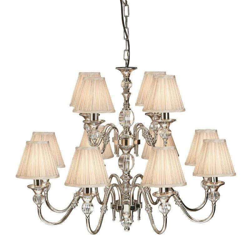Traditional Ceiling Pendant Lights - Polina 12 Light Polished Nickel Finish Chandelier With Beige Shades 63581