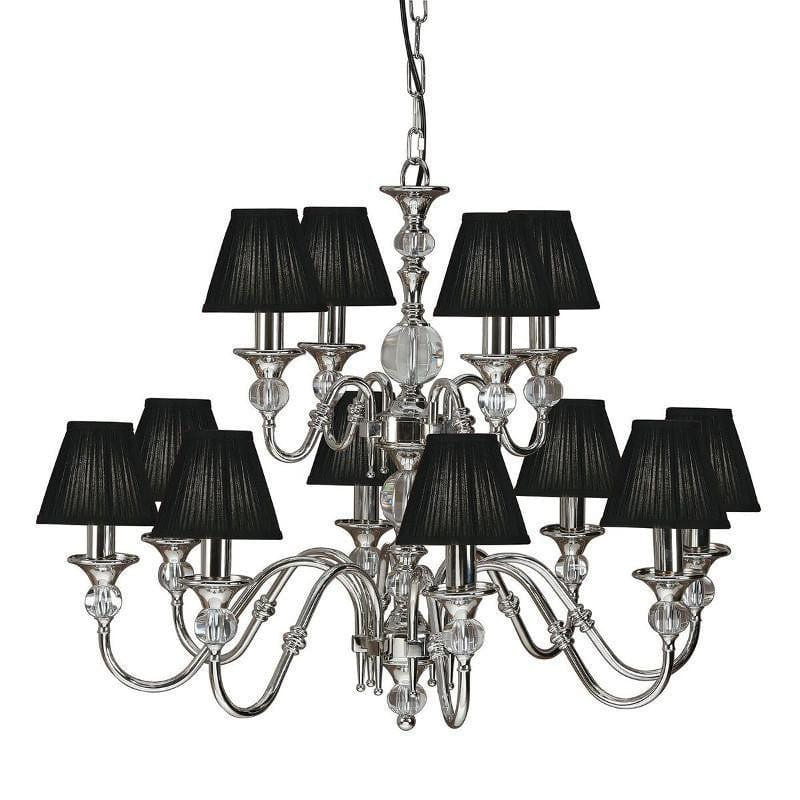 Traditional Ceiling Pendant Lights - Polina 12 Light Polished Nickel Finish Chandelier With Black Shades 63584