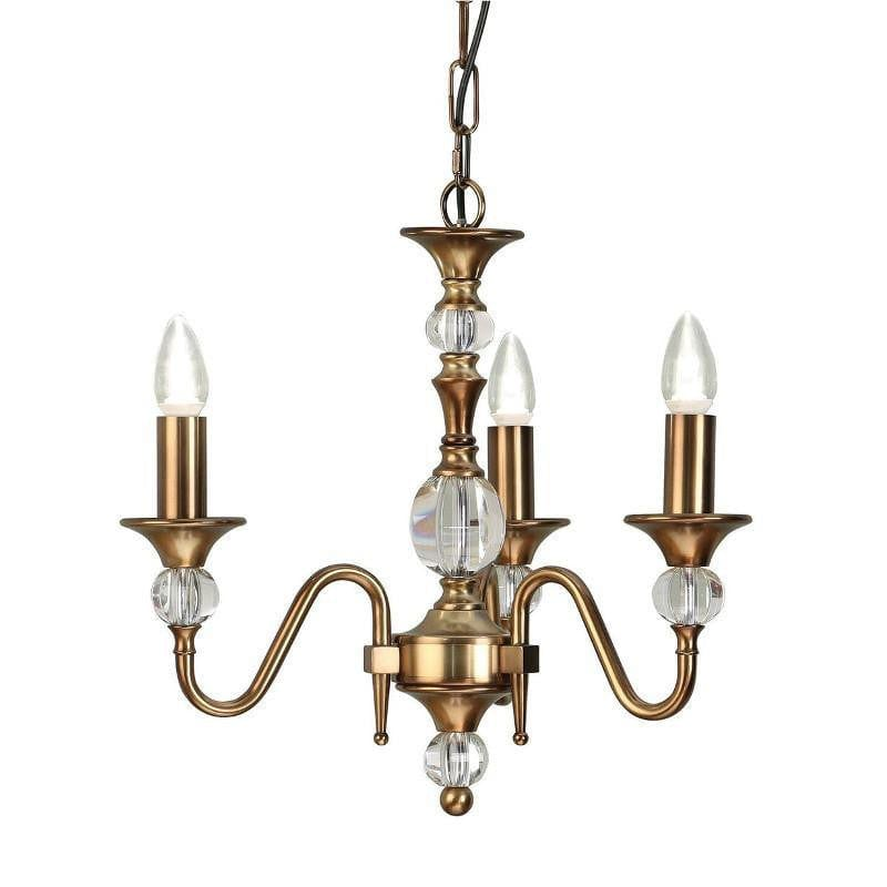 Traditional Ceiling Pendant Lights - Polina 3 Light Antique Brass Finish Chandelier LX124P3B