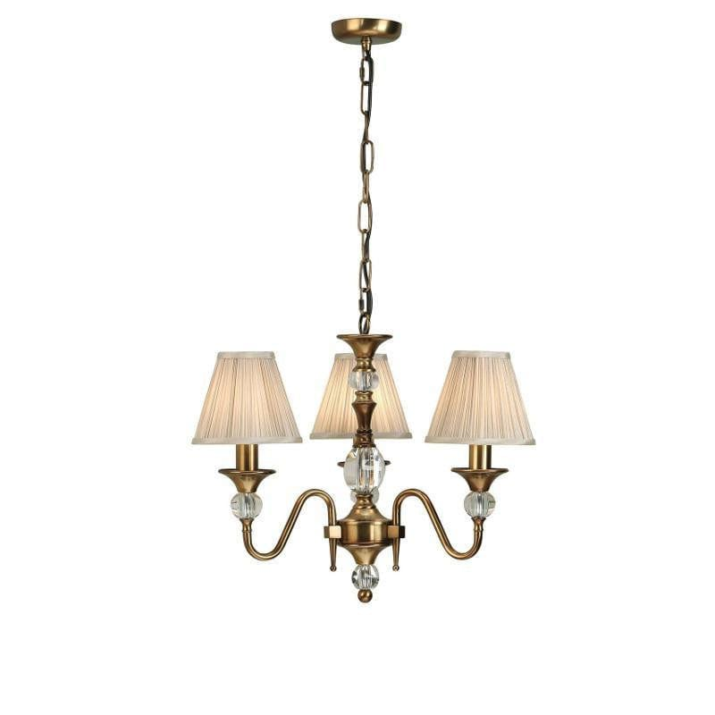 Traditional Ceiling Pendant Lights - Polina 3 Light Antique Brass Finish Chandelier With Beige Shades 63586