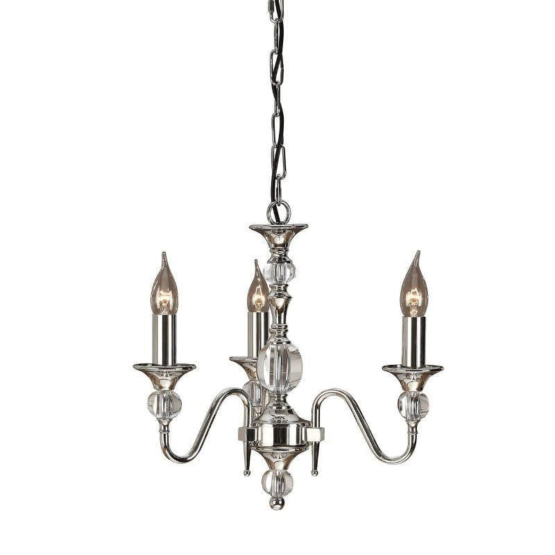 Traditional Ceiling Pendant Lights - Polina 3 Light Polished Nickel Finish Chandelier LX124P3N