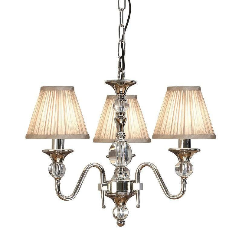 Traditional Ceiling Pendant Lights - Polina 3 Light Polished Nickel Finish Chandelier With Beige Shades 63579