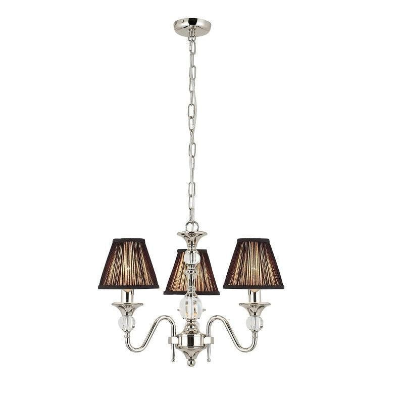 Traditional Ceiling Pendant Lights - Polina 3 Light Polished Nickel Finish Chandelier With Black Shades 63583