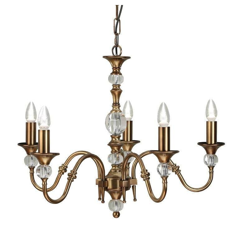 Traditional Ceiling Pendant Lights - Polina 5 Light Brass Finish Chandelier LX124P5B