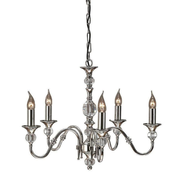 Traditional Ceiling Pendant Lights - Polina 5 Light Polished Nickel Finish Chandelier LX124P5N