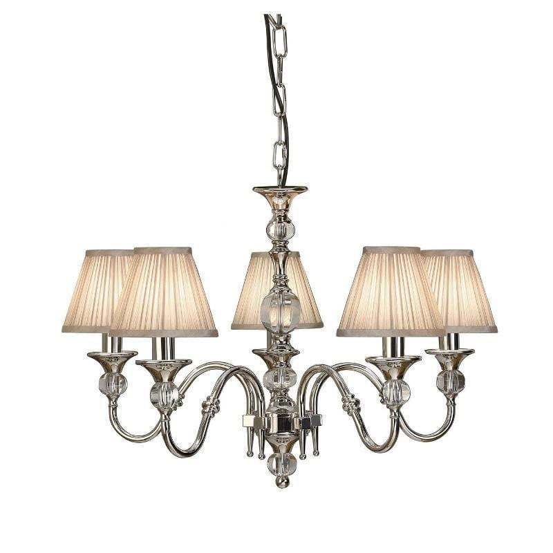 Traditional Ceiling Pendant Lights - Polina 5 Light Polished Nickel Finish Chandelier With Beige Shades 63580