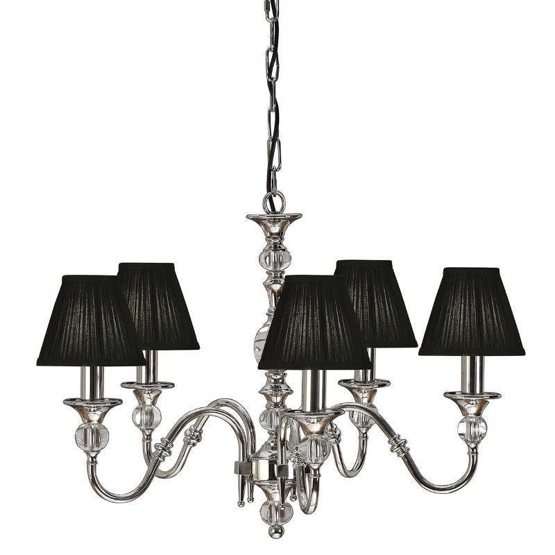 Traditional Ceiling Pendant Lights - Polina 5 Light Polished Nickel Finish Chandelier With Black Shades 63582