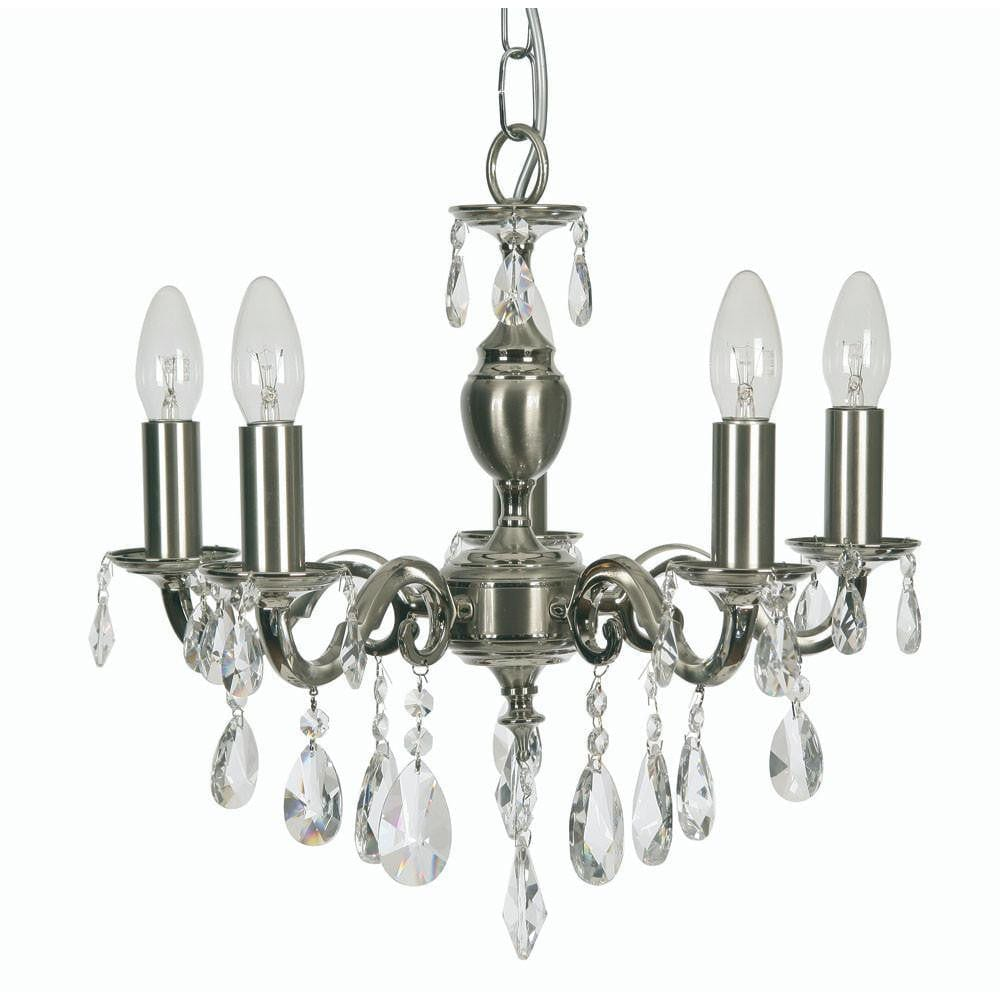 Traditional Ceiling Pendant Lights - Risborough Cast Brass 5 Light Chandelier With Satin Nickel Plate 176/5 SN