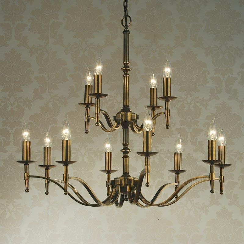 Traditional Ceiling Pendant Lights - Stanford 12 Light Antique Brass Finish Chandelier CA1P12B