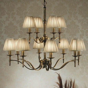 Traditional Ceiling Pendant Lights - Stanford 12 Light Antique Brass Finish Chandelier With Beige Shades 63626