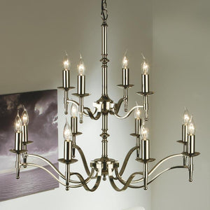 Traditional Ceiling Pendant Lights - Stanford 12 Light Polished Nickel Finish Chandelier CA1P12N