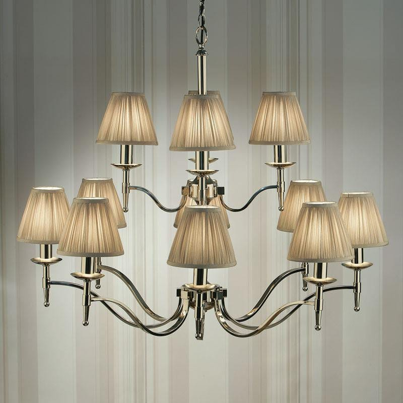 Traditional Ceiling Pendant Lights - Stanford 12 Light Polished Nickel Finish Chandelier With Beige Shades 63632