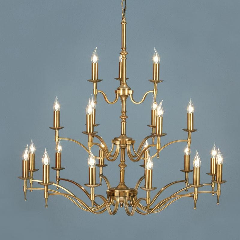 Traditional Ceiling Pendant Lights - Stanford 21 Light Antique Brass Finish Chandelier CA1P21B