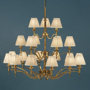 Traditional Ceiling Pendant Lights - Stanford 21 Light Antique Brass Finish Chandelier With Beige Shades 63625