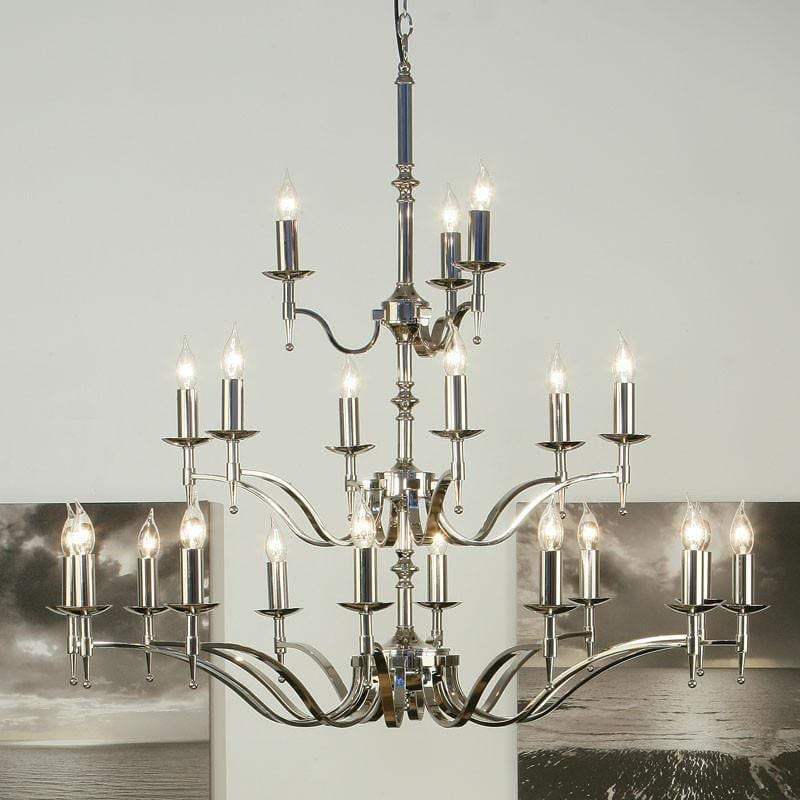 Traditional Ceiling Pendant Lights - Stanford 21 Light Polished Nickel Finish Chandelier CA1P21N