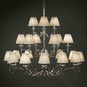 Traditional Ceiling Pendant Lights - Stanford 21 Light Polished Nickel Finish Chandelier With Beige Shades 63634