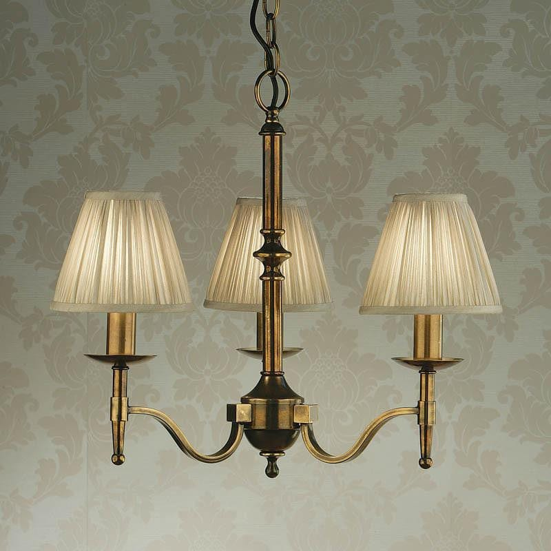 Traditional Ceiling Pendant Lights - Stanford 3 Light Antique Brass Finish Chandelier With Beige Shades 63628