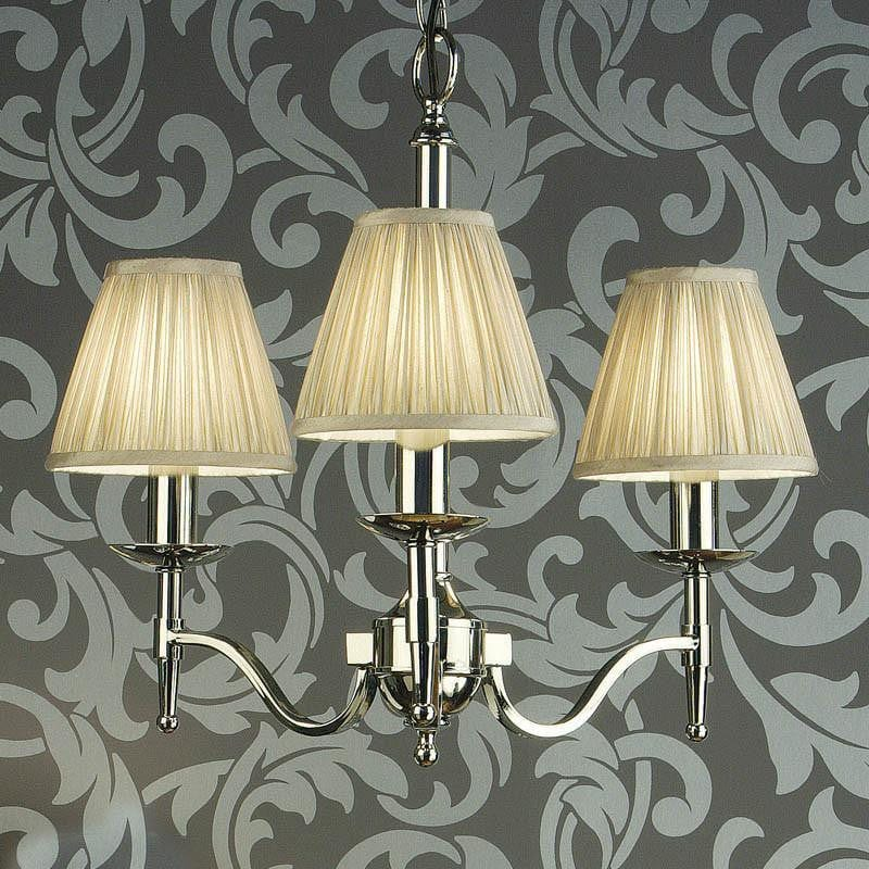 Traditional Ceiling Pendant Lights - Stanford 3 Light Polished Nickel Finish Chandelier With Beige Shades 63633
