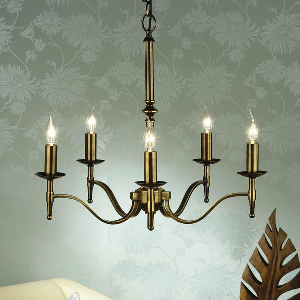 Traditional Ceiling Pendant Lights - Stanford 5 Light Antique Brass Finish Chandelier CA1P5B