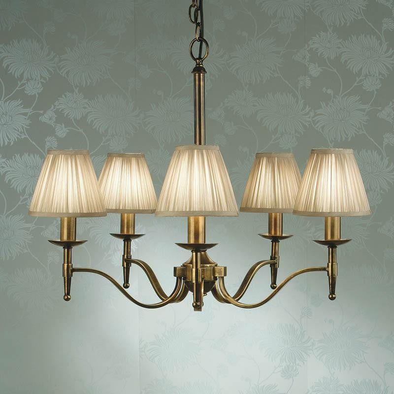 Traditional Ceiling Pendant Lights - Stanford 5 Light Antique Brass Finish Chandelier With Beige Shades 63627