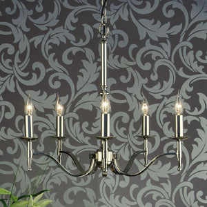 Traditional Ceiling Pendant Lights - Stanford 5 Light Polished Nickel Finish Chandelier CA1P5N
