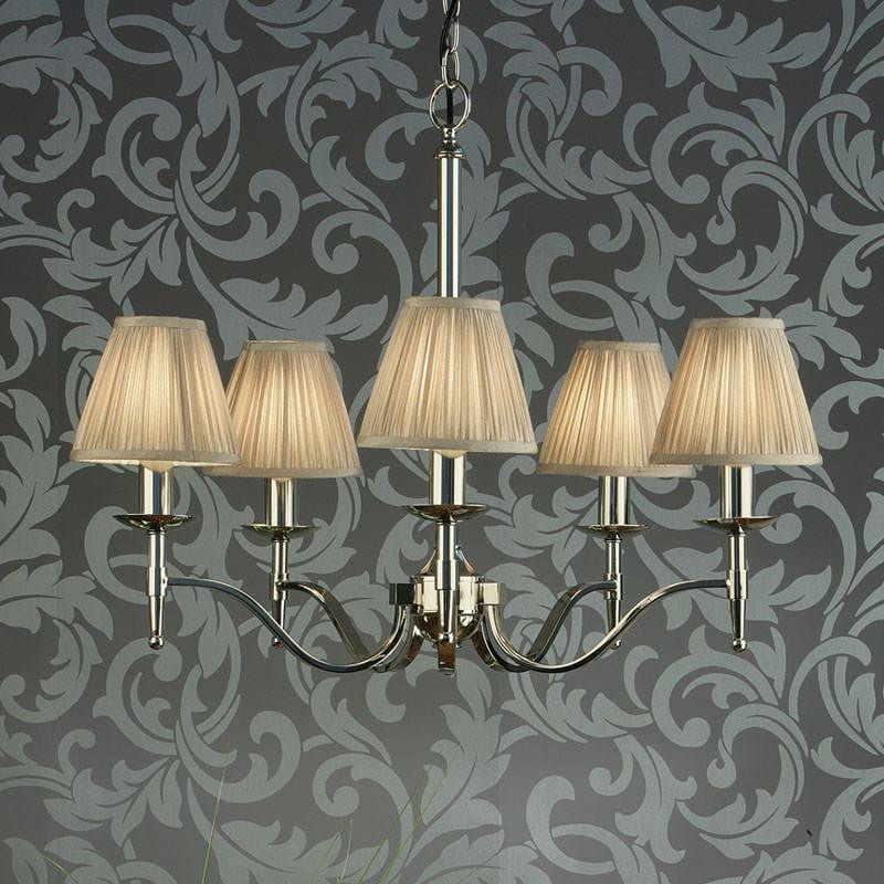 Traditional Ceiling Pendant Lights - Stanford 5 Light Polished Nickel Finish Chandelier With Beige Shades 63631