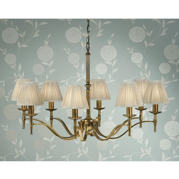 Traditional Ceiling Pendant Lights - Stanford 8 Light Antique Brass Finish Chandelier With Beige Shades 63629