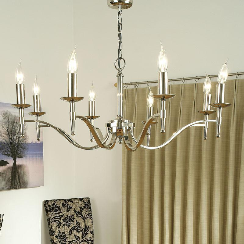 Traditional Ceiling Pendant Lights - Stanford 8 Light Polished Nickel Finish Chandelier CA1P8N