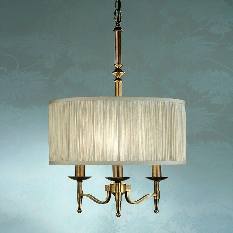 Traditional Ceiling Pendant Lights - Stanford Antique Brass Finish 3 Light Pendant 63630