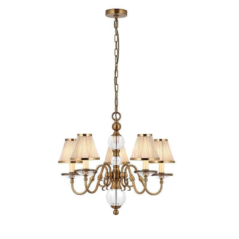Traditional Ceiling Pendant Lights - Tilburg 5 Light Antique Brass Finish Chandelier With Beige Shades 70819