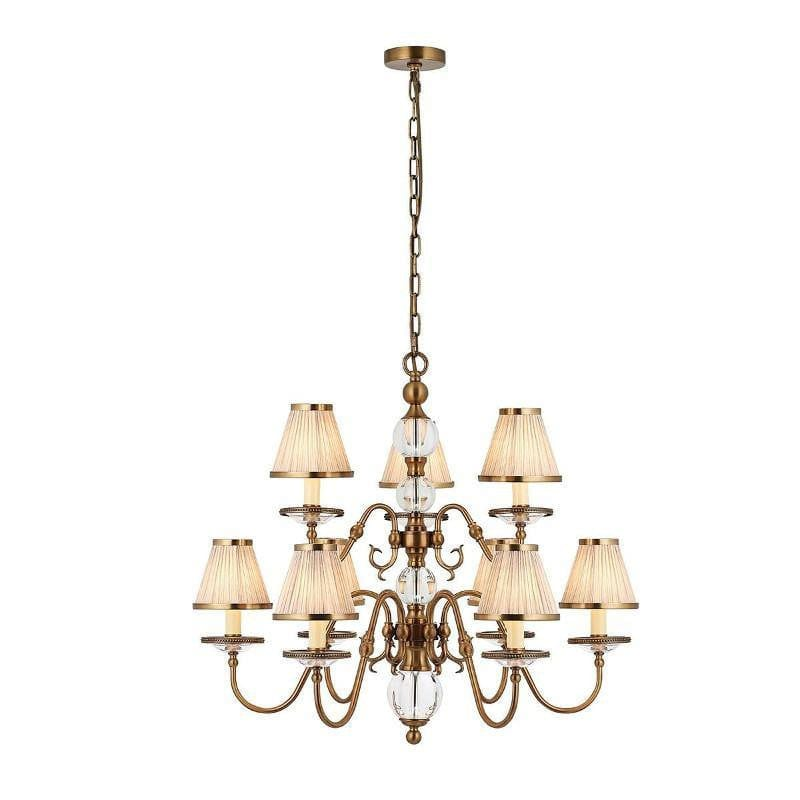 Traditional Ceiling Pendant Lights - Tilburg Antique Brass Finish 9 Light Chandelier With Beige Shades 70820