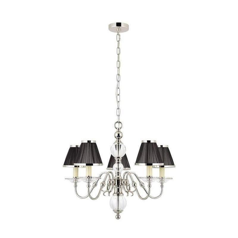 Traditional Ceiling Pendant Lights Tilburg Polished Nickel Finish 5 Light Chandelier With Black Shades 63718