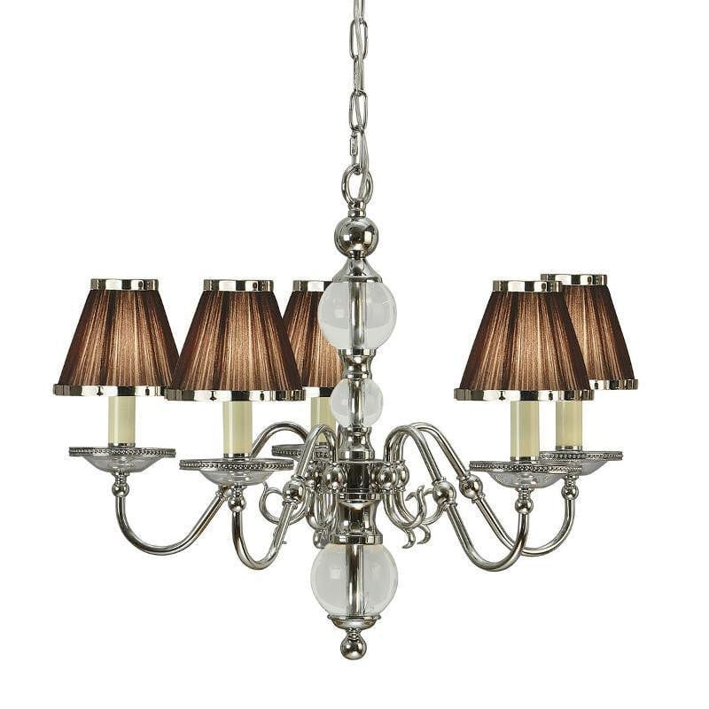 Traditional Ceiling Pendant Lights - Tilburg Polished Nickel Finish 5 Light Chandelier With Chocolate Shades 63716