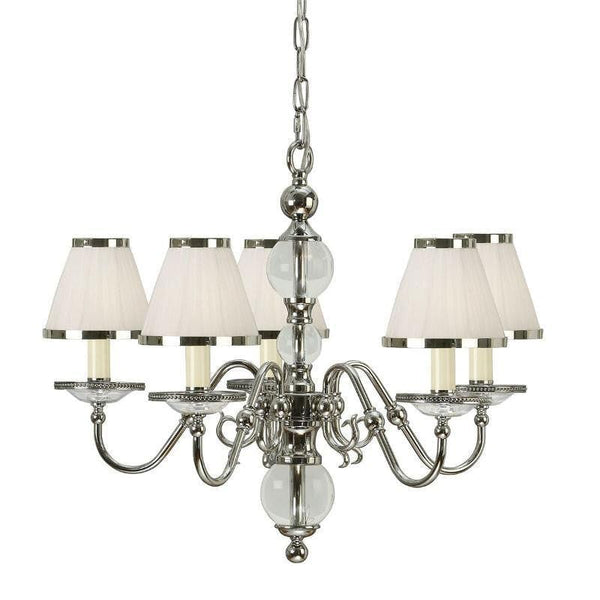 Traditional Ceiling Pendant Lights - Tilburg Polished Nickel Finish 5 Light Chandelier With White Shades 63714