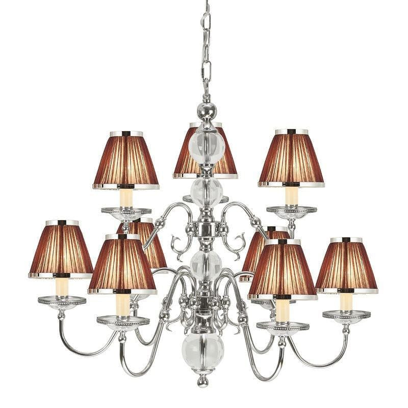 Traditional Ceiling Pendant Lights - Tilburg Polished Nickel Finish 9 Light Chandelier With Chocolate Shades 63717