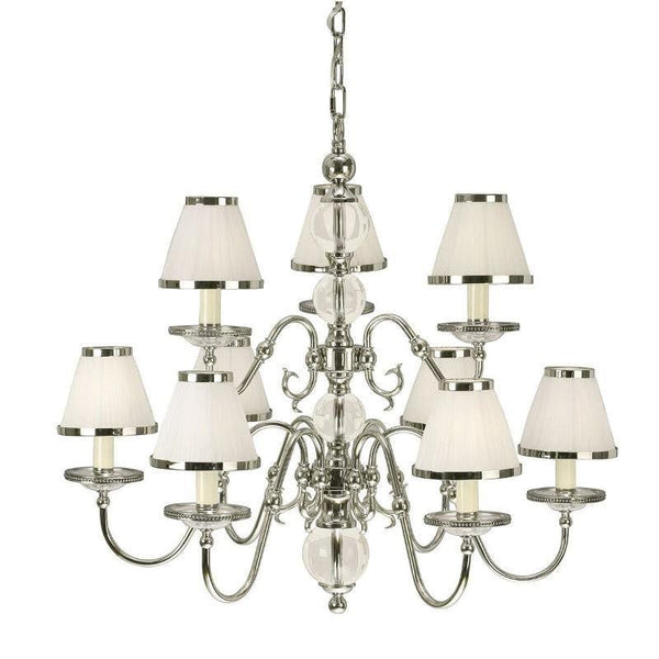 Traditional Ceiling Pendant Lights - Tilburg Polished Nickel Finish 9 Light Chandelier With White Shades 63715
