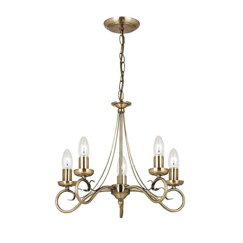 Traditional Ceiling Pendant Lights - Trafford Antique Brass Finish 5 Light Chandelier 61639