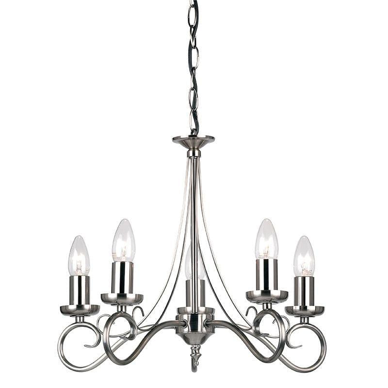 Traditional Ceiling Pendant Lights - Trafford Antique Silver Finish 5 Light Chandelier 180-5AS