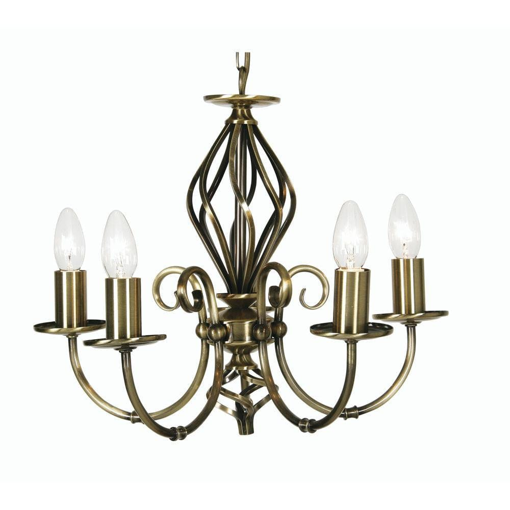 Traditional Ceiling Pendant Lights - Tuscany Antique Brass Finish 5 Light Chandelier 3380/5 AB